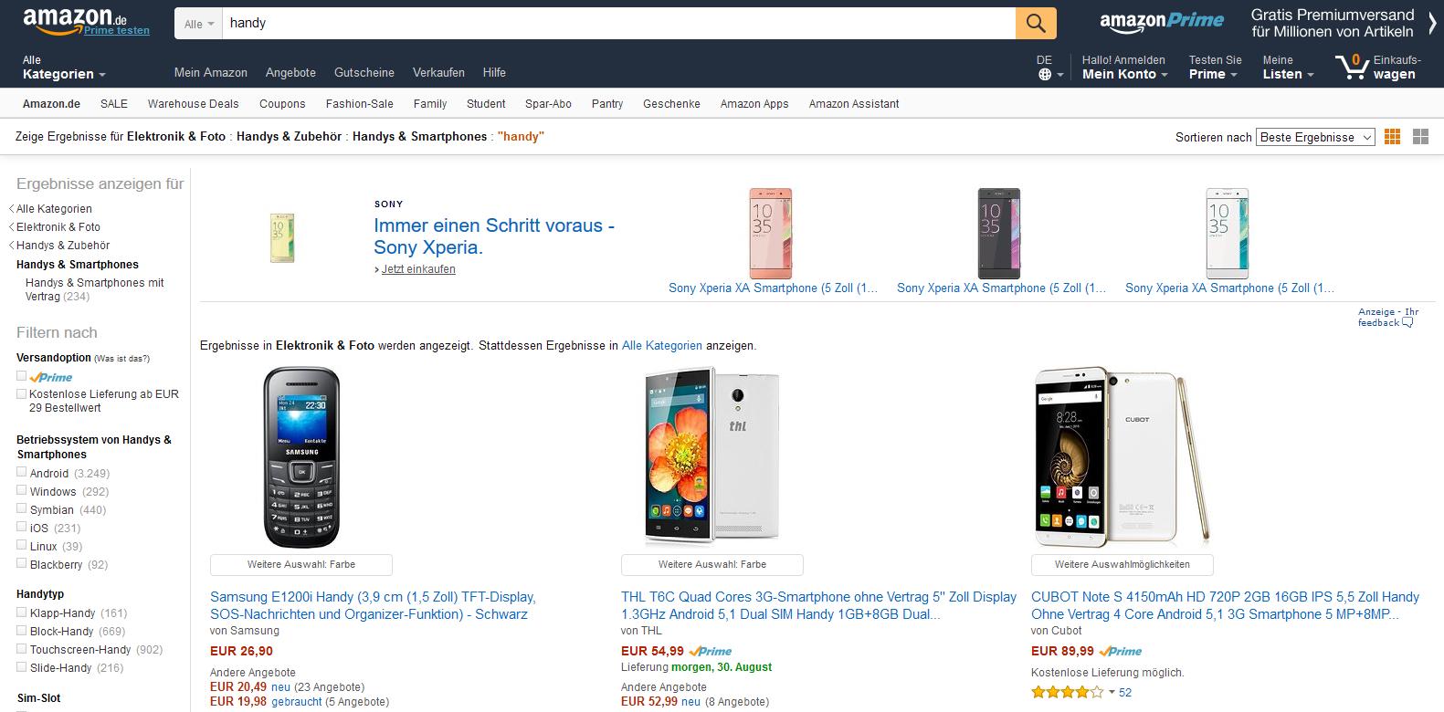 Amazon-Suche: Handy