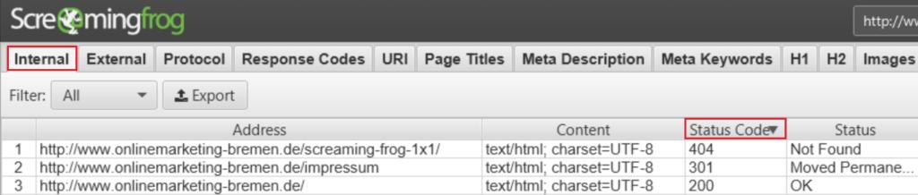 Screaming Frog 8.3 - 404-Fehler