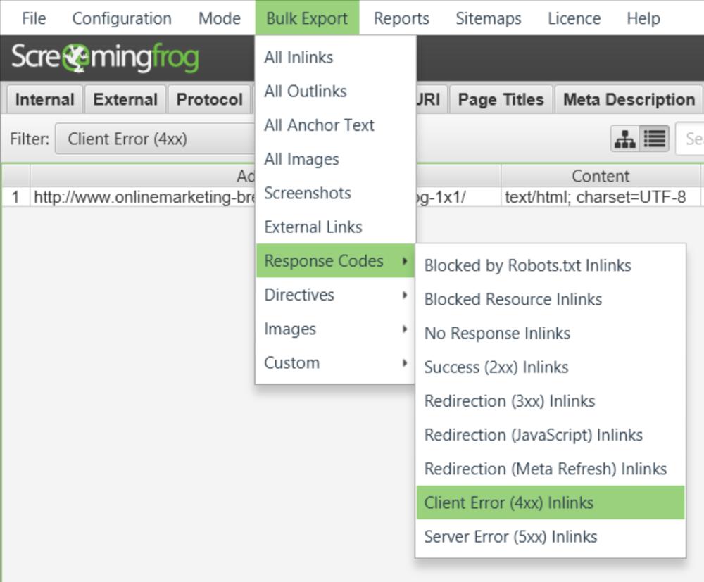 Screaming Frog 8.3 - 404-Fehler (Bulk Export)