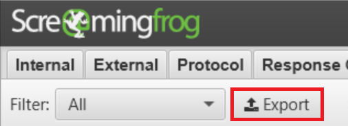 Screaming Frog 8.3 - Export