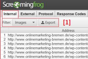 Screaming Frog - Bilder Export.